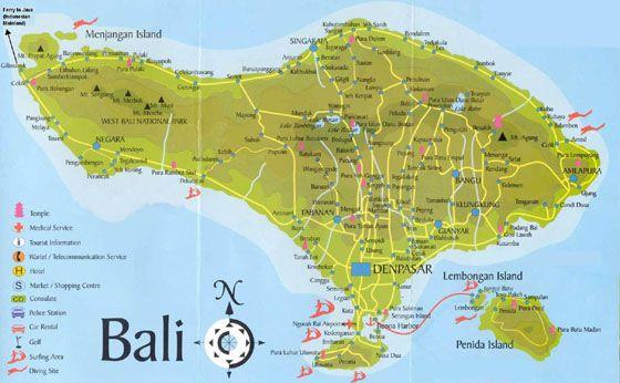 bali karte indonesien Karte von Bali | Touristenkarte, Bali, Bali reise