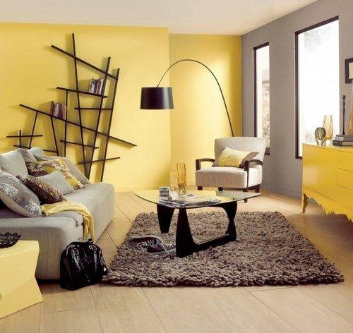 Sala gris y amarillo decoration pinterest decoration for Decoraciones para salas modernas