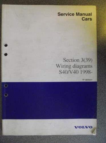 Volvo S40 V40 Wiring Diagram Manual 1998 TP3935031