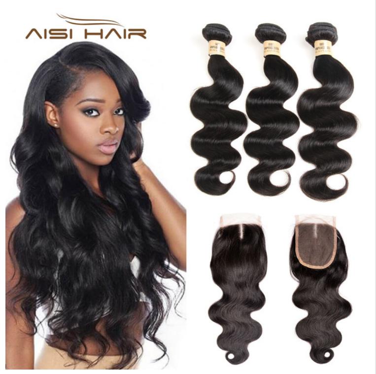 Aisi Hair Body Wave 3 Bundles With Closure Virgin Human Hair Bundles With Closure Peruvian Hair Weave Bundles Wi Peruvian Hair Weave Hair Bundles Peruvian Hair