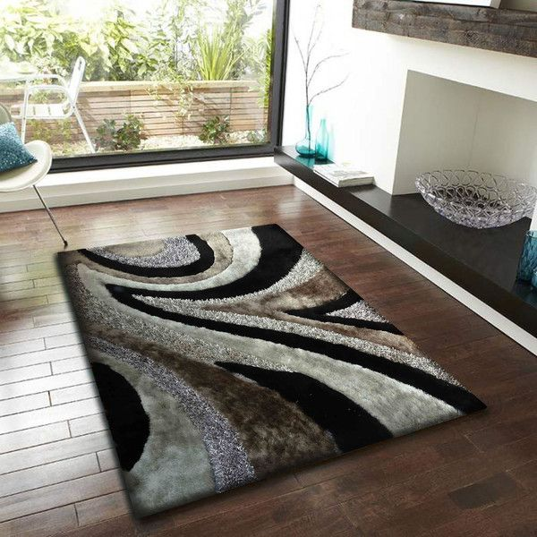 Black With Grey Shaggy Area Rug