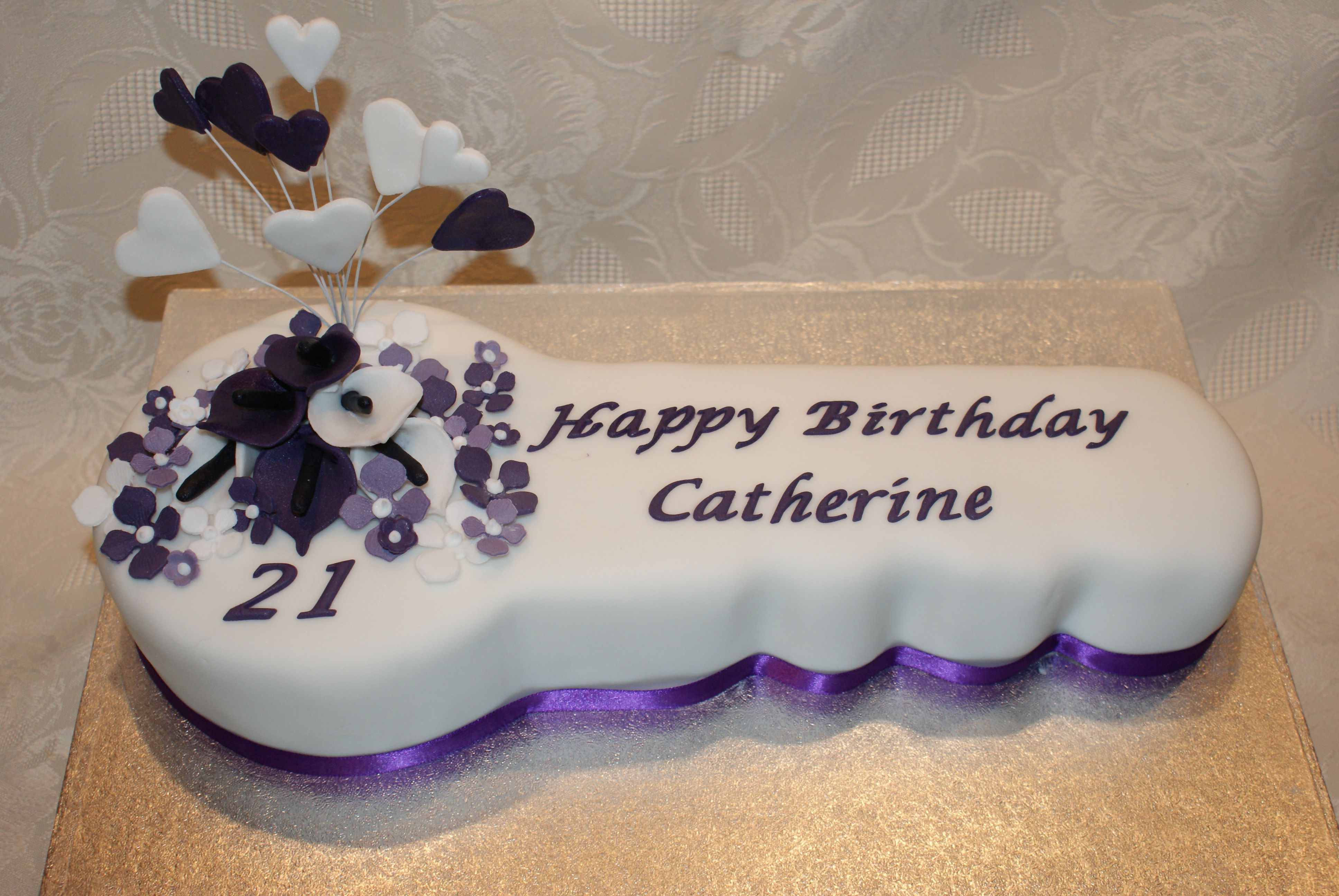 Key To The Door Traditional 21st Birthday Cake With Heart Spray And