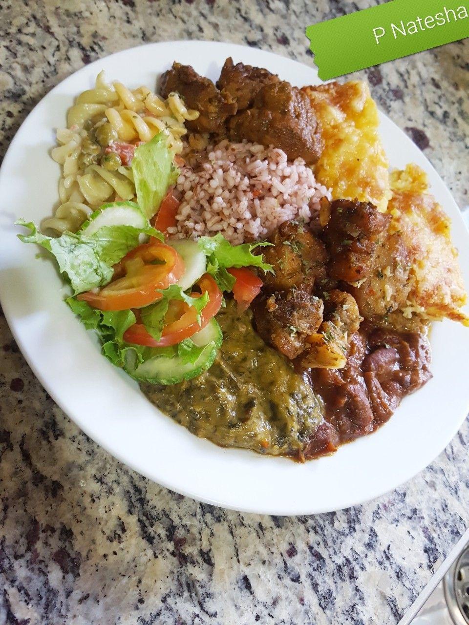 Creole Rice Shepherds Pie Callaloo Red Beans Stewed Chicken Garlic Pork Macaroni Salad And Fresh Salad Caribbean T Trinidad Recipes Food Creole Rice