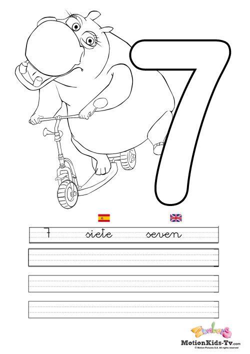 Pintas educativos aprender numeros siete coloring - Actividades para ninos pequenos ...