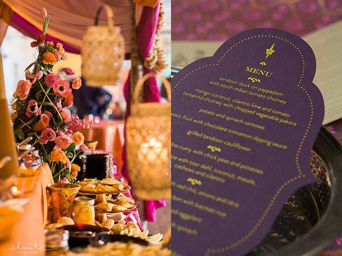 Eggplant Menu With Marigold Foil Printing Diecut Ogee Shape By Real Card Studio Indian Wedding InvitationsBuffetThemed