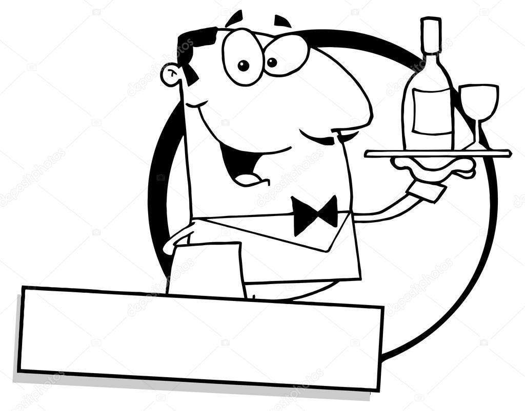 Dibujos Animados Logo Hispano Hombre Camarero Sirviendo