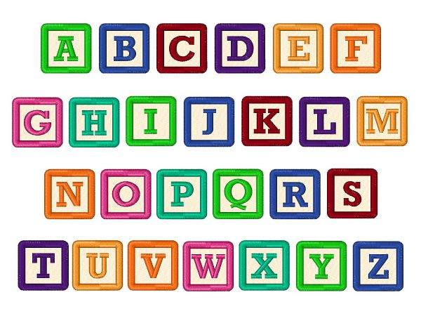 Alphabet Box Letter Font.Building Blocks Font Embroidery Font Embroidery Fonts