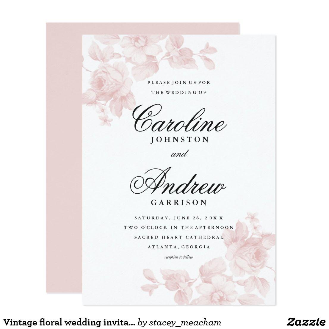 Vintage floral wedding invitation | Vintage Wedding Invitations ...