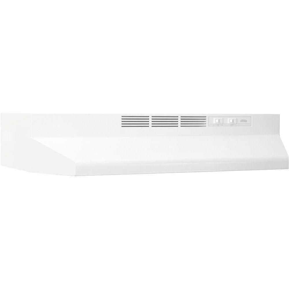 Broan Nutone 41000 Series 36 In Ductless Under Cabinet Range Hood With Light In White 413601 The Home Depot Broan Non Vented Range Hood Ducted Range Hood