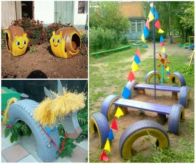 tire garden art - Garden Ideas Using Old Tires