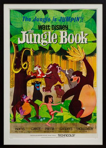"1967 The Jungle Book US 1 sheet film poster. Linen backed and framed. ""The Jungle is JUMPIN'"" One of our favourite Disney film posters. Wonderfully rich colours and great styling. A must for any man cub!"