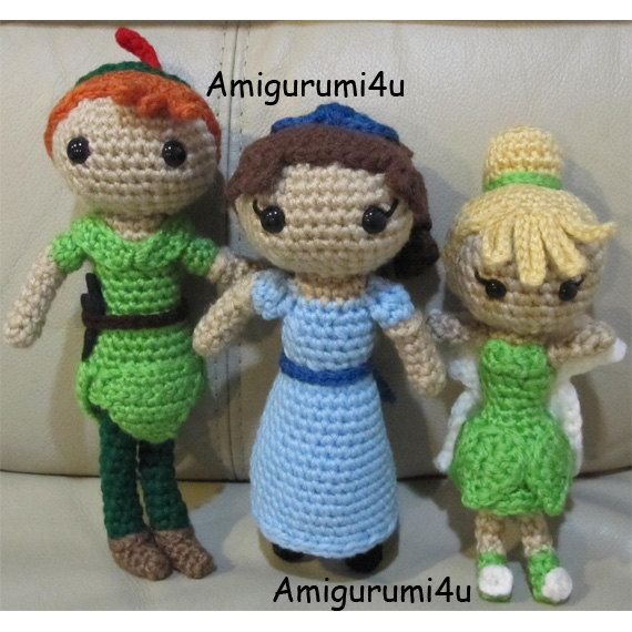 Disney peter pan wendy darling tinker bell by amigurumi4u on etsy items similar to disney peter pan wendy darling tinker bell amigurumi crochet doll handmade on etsy dt1010fo