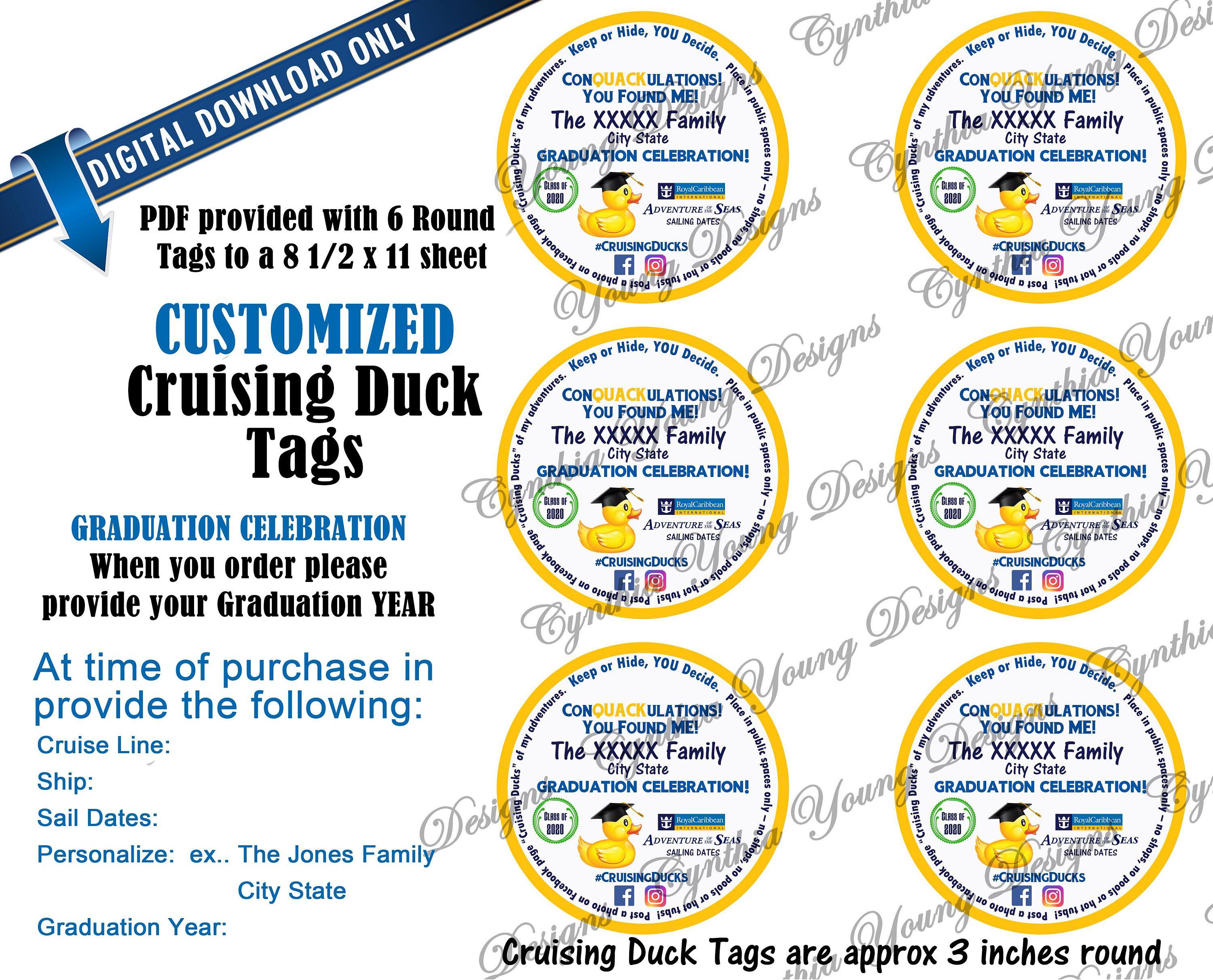 Graduation Cruising Ducks Round Tags Customized With Your Personal Information Not An Instant Download Rcl Ncl Princess Round Tags Round Gift Tags Custom