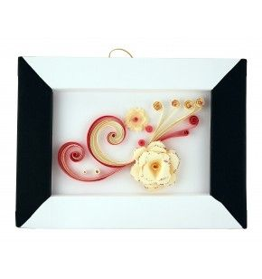 Description: Greeting - picture, with decoration made of paper, in different colors and forms, using quilling technique.  Dimensions: 21x 17 cm