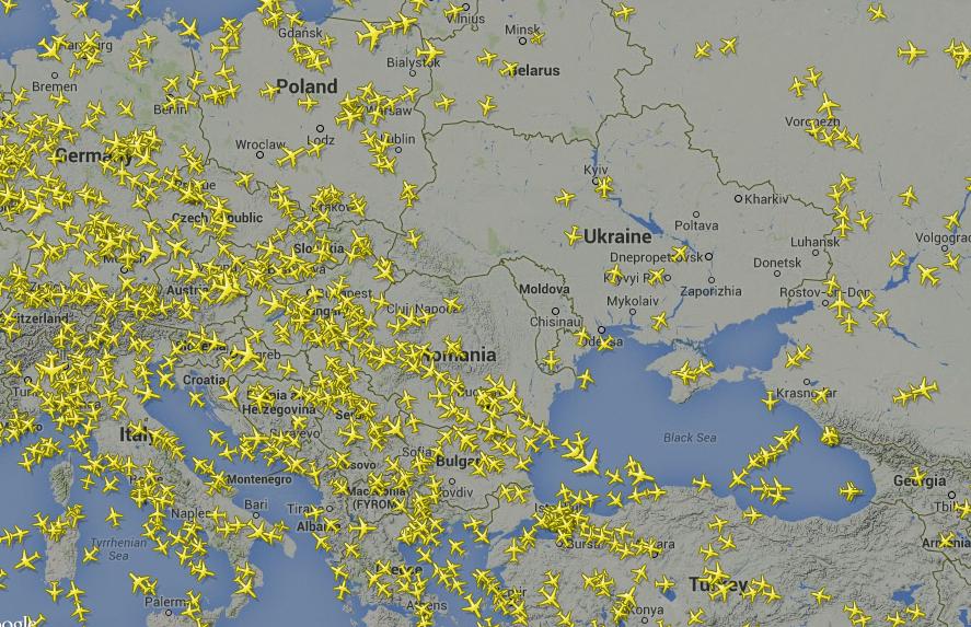 Заради отбягването на Украйна е засилен въздушният трафик