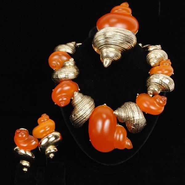 bChristian Dior Vintage Couture 3pc Parure Orange Lucite and Gold