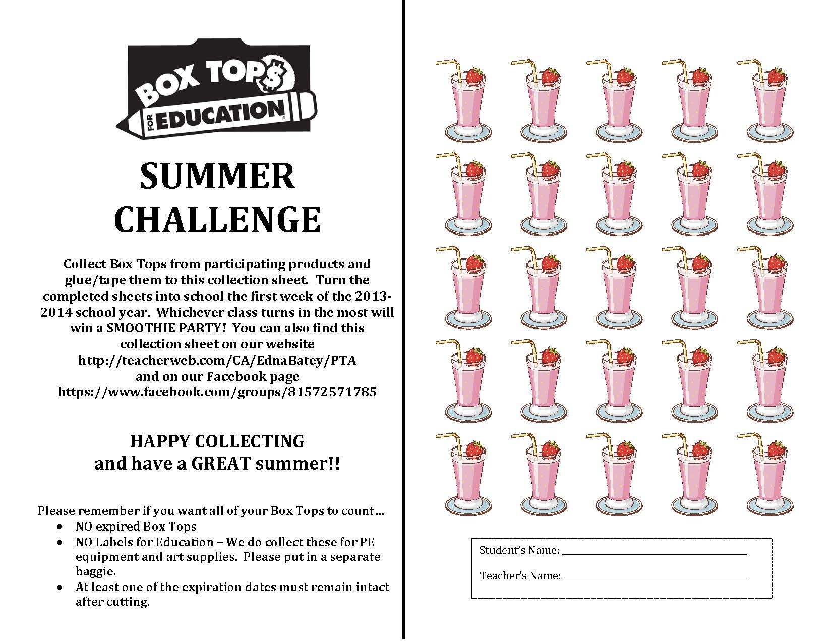 Box Tops Summer Challenge Collection Sheet