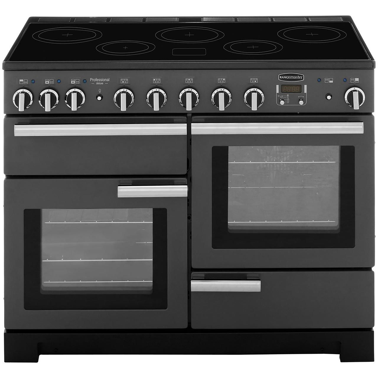 Rangemaster Professional Deluxe Pdl110eigb C 110cm Electric Range Cooker With Induction Hob Black A A Rated