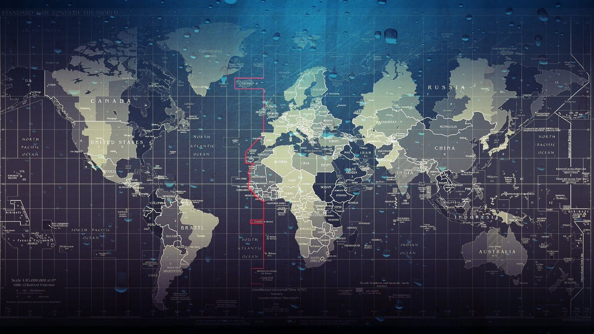 World Map Illustration Artwork Map Water Drops Digital Art