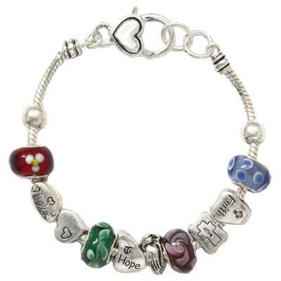 7.5 SWEETIE 8 Jewelry Womens Black Floral and Clover Droplets Murano Glass Beads and Enamel Charms Bracelet
