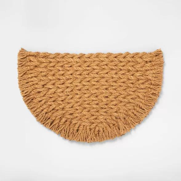 Half Circle Braided Coir Doormat Hearth Hand With Magnolia Coir Doormat Hearth Hand With Magnolia Door Mat