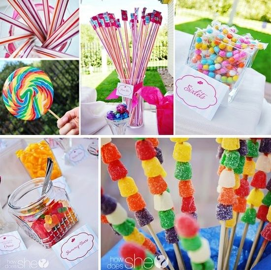 Great candy bar idea! DIY kids birthday party decoration, food, snack & theme | http://summerpartyideas.blogspot.com