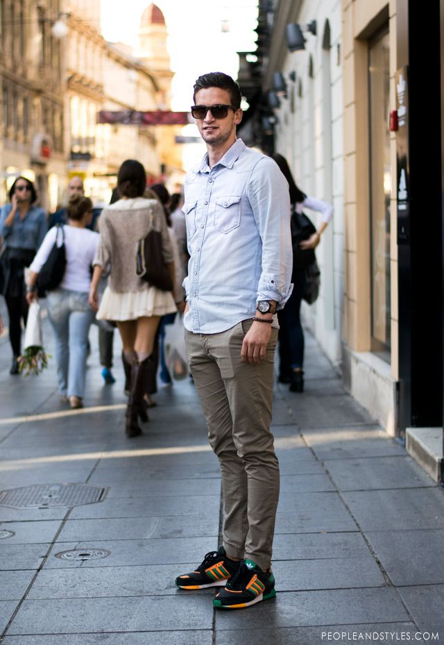 Guys Casual Street Style Look Denim Shirt Chinos Adidas Sneakers Peopleandstyles Stylish