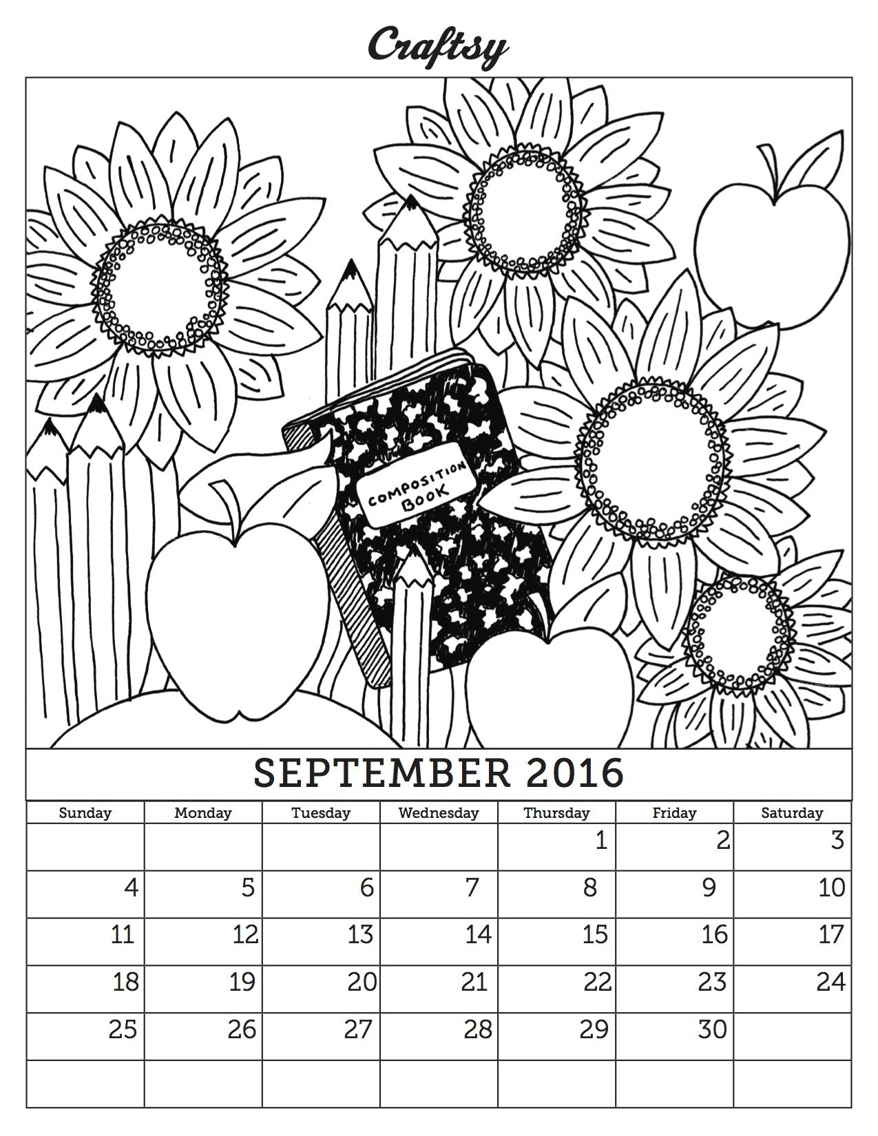 N September Our Latest Coloring Book Calendar Page Available As A