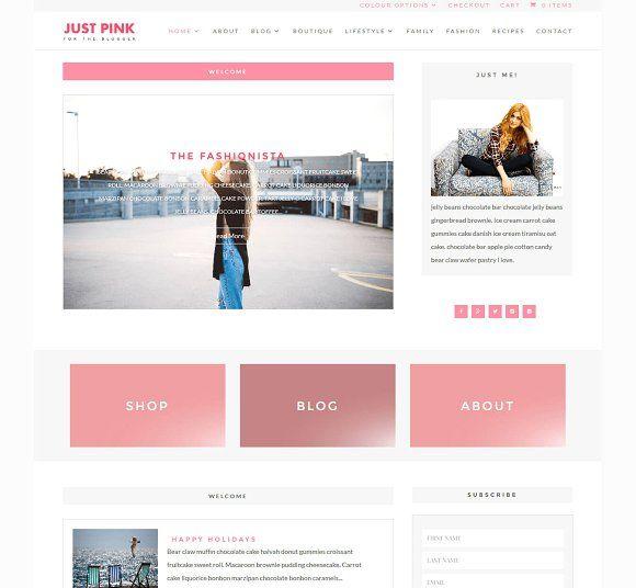 Just Pink Wordpress Blog Wordpress Divi Divi Child Theme Blog Ecommerce Pink Feminine Respo Pretty Web Design Blog Themes Wordpress Magazine Theme Wordpress
