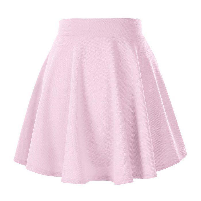 ReachMe Womens Basic Skater Skirt Versatile Stretchy Flared Casual Mini Skirt(7 Light Pink L)