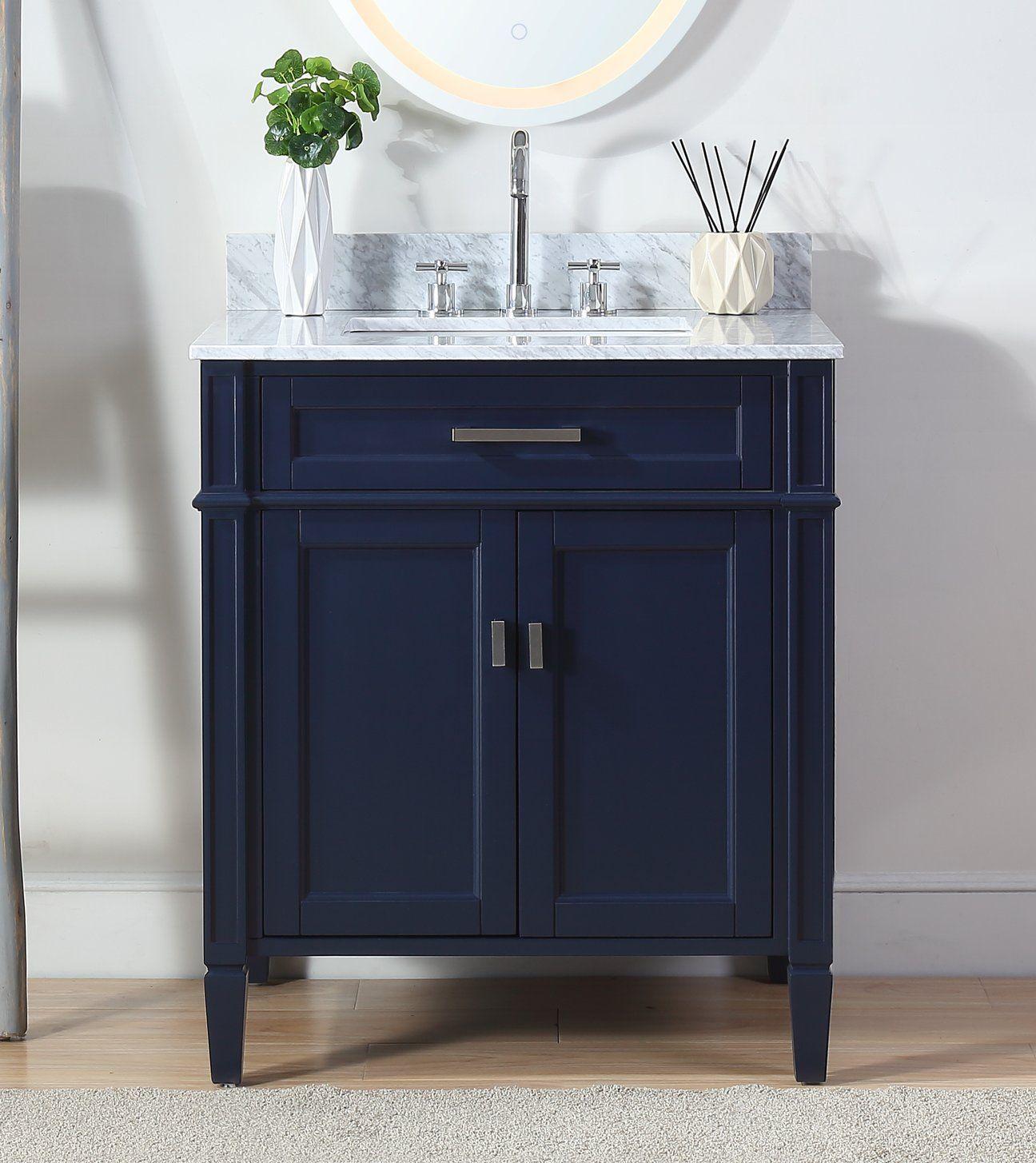 "30"" tennant brand durand navy blue bathroom sink vanity zk"