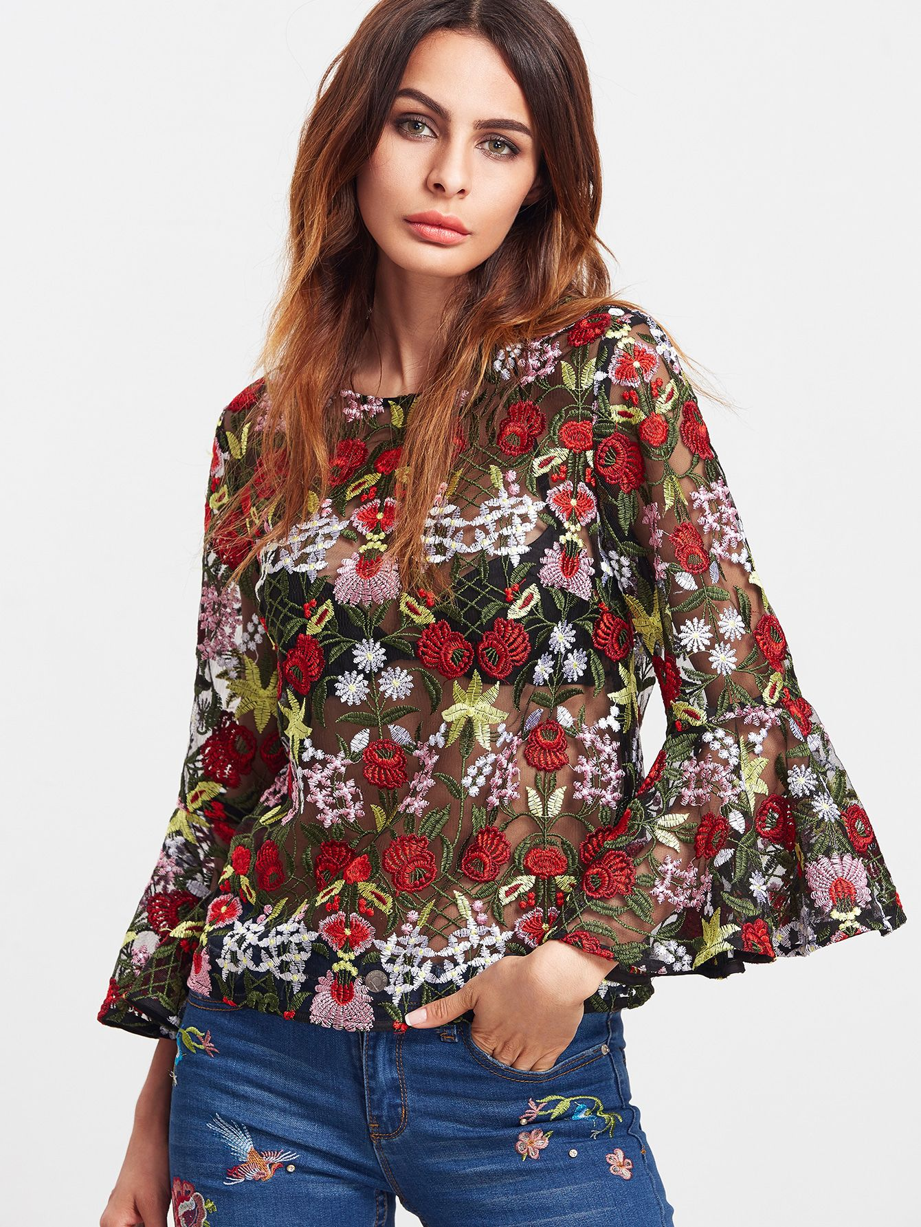 b9e8d49b25f Shop Multicolor Bell Sleeve Flower Embroidered Mesh Top online. SheIn  offers Multicolor Bell Sleeve Flower Embroidered Mesh Top & more to fit  your ...