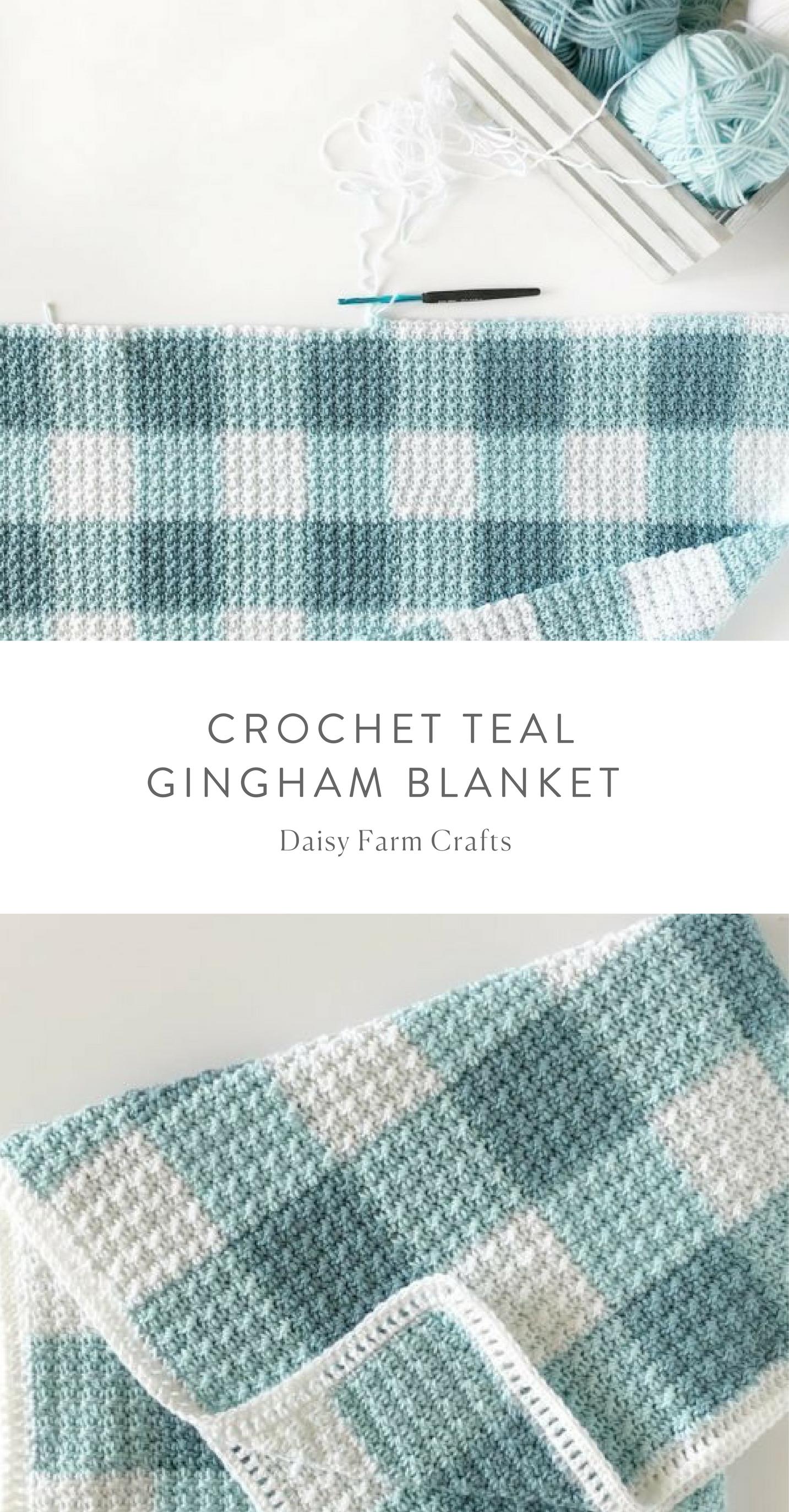 Free Pattern - Crochet Teal Gingham Blanket | Crochet | Pinterest ...