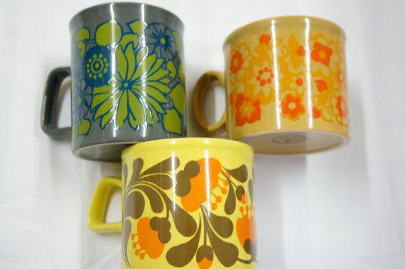 3 english vintage cup mug 70's stattfordshire potteries by Brocart, €20.00