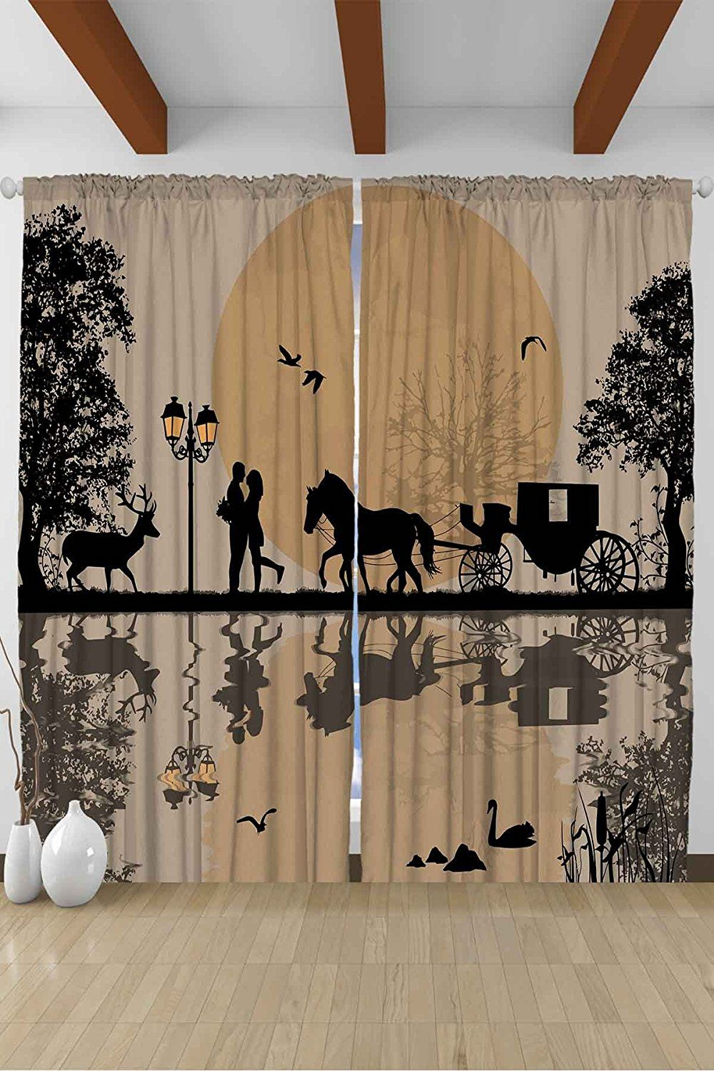 House Decor For Teens Cinderella Fairy Tale Carriage Full Moon Dream Dreamy Accessories  Bedroom Living Kids Youth Room Curtain Two Panels Set 108 Inches ...