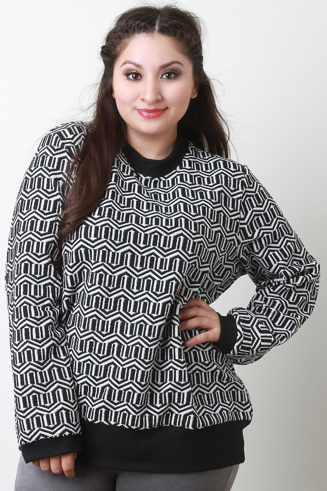 Geometric Pattern Textured Long Sleeves Sweater Top