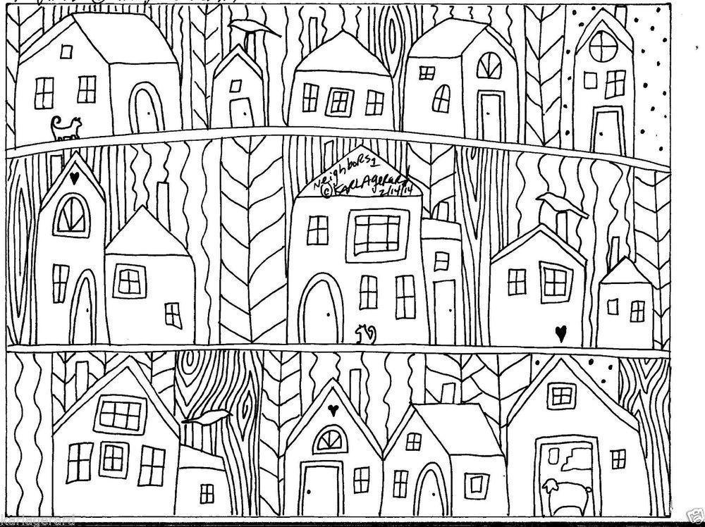 Rug Hook Paper Pattern Neighbors1 FOLK ART ABSTRACT MODERN UNIQUE Karla Gerardnew For Sale
