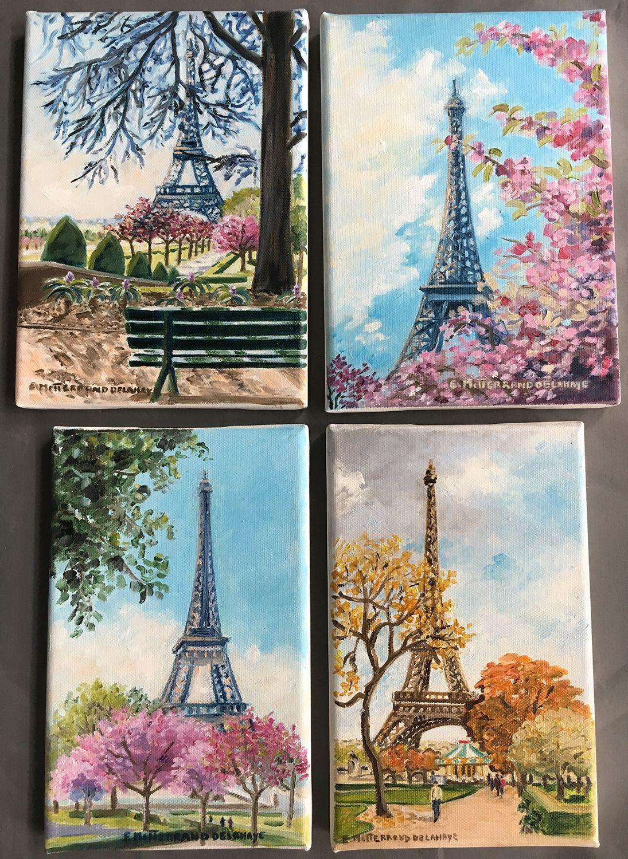 Eiffel Towers And Cherry Trees Tour Eiffel Dessin Art De La Peinture Art De La Mer