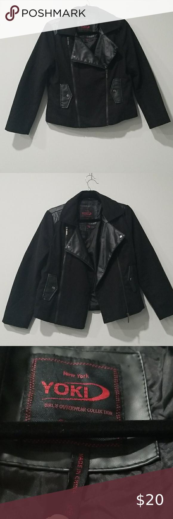 Yoki Girls Xl 16 Black Wool Leather Moto Jacket Jackets Leather Moto Jacket Moto Jacket [ 1740 x 580 Pixel ]
