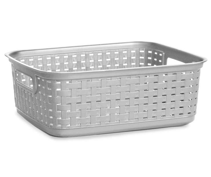 Sterilite Cement Gray Short Weave Basket Big Lots Organization