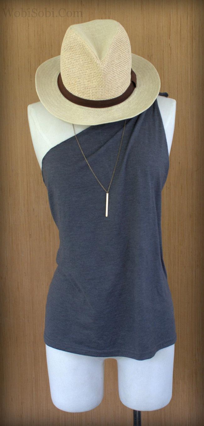 Easy One Shoulder Tied Tee, DIY -   13 DIY Clothes Remake style ideas