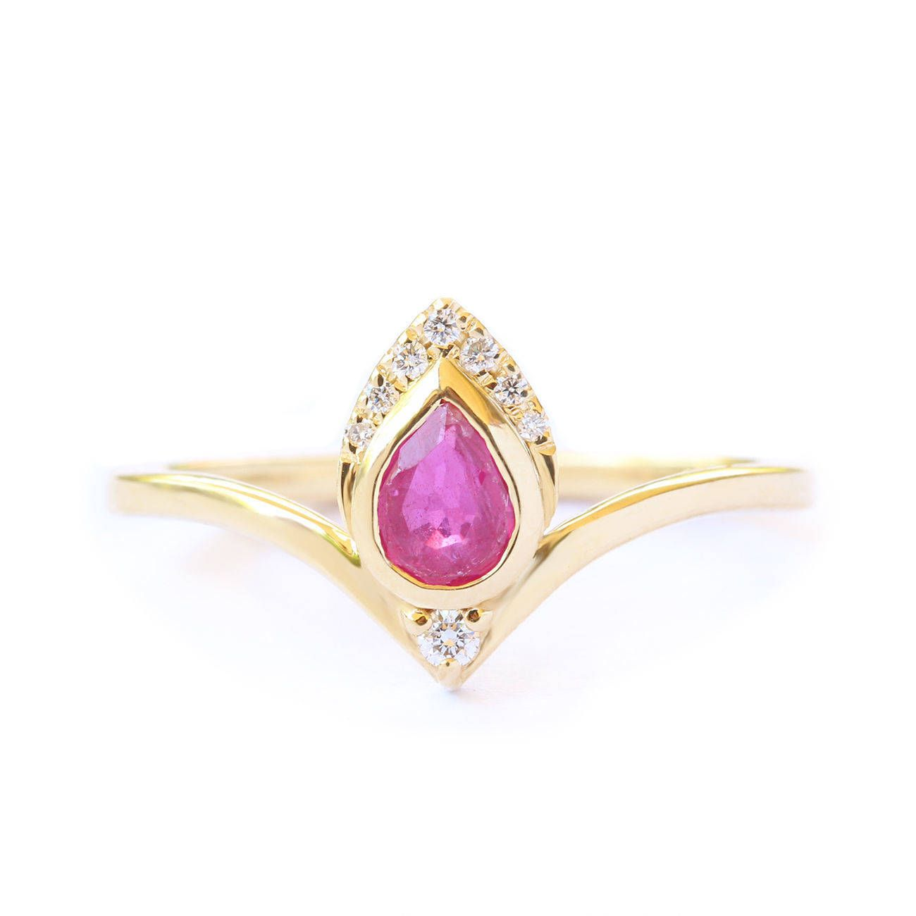 Natural ruby engagement ring solid yellow gold diamond ring