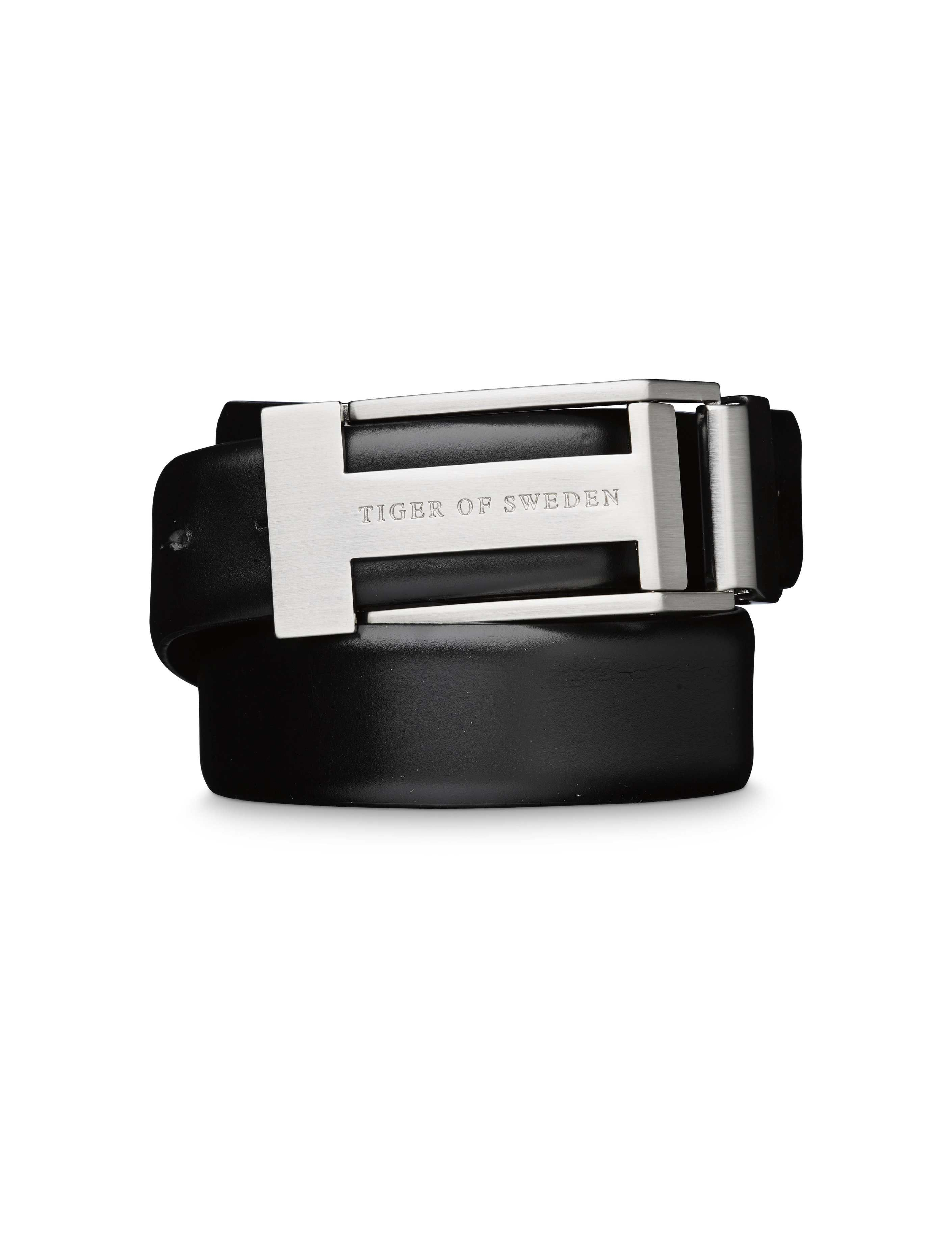 CHRISTIAN belt - Men's belt in Italian leather. Features metal buckle with brushed silver finish with Tiger of Sweden logo. Width: 3.5 cm. Made in Italy