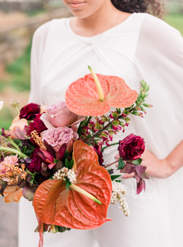 Modern Bridal Bouquet With Anthurium Flowers And Textural Elements In Mauve Burgu Modern Bridal Bouquets Floral Arrangements Wedding Fall Wedding Color Schemes