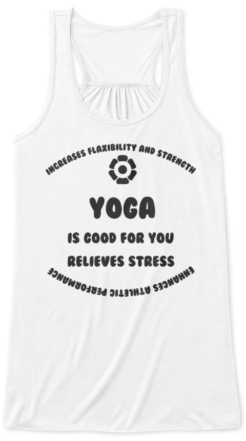 Yoga Tank White T-Shirt Front
