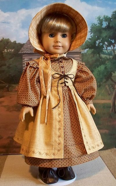 3pc. Prairie harvest ensemble for Kirsten #bedfalls62 Little house on the prairie doll dress outfit.  I love this if I could make it I would get me my own doll and make it for me. #bedfalls62 3pc. Prairie harvest ensemble for Kirsten #bedfalls62 Little house on the prairie doll dress outfit.  I love this if I could make it I would get me my own doll and make it for me. #bedfalls62