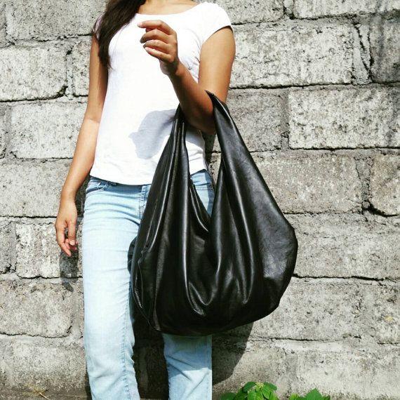 BLACK - Large hobo Bag, soft leather hobo bag, sof
