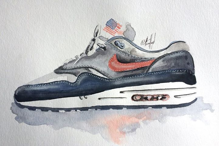 Air Max 1 By Painting Achildcolor Watercolour Sneaker Nike 004 QrxCBshtd