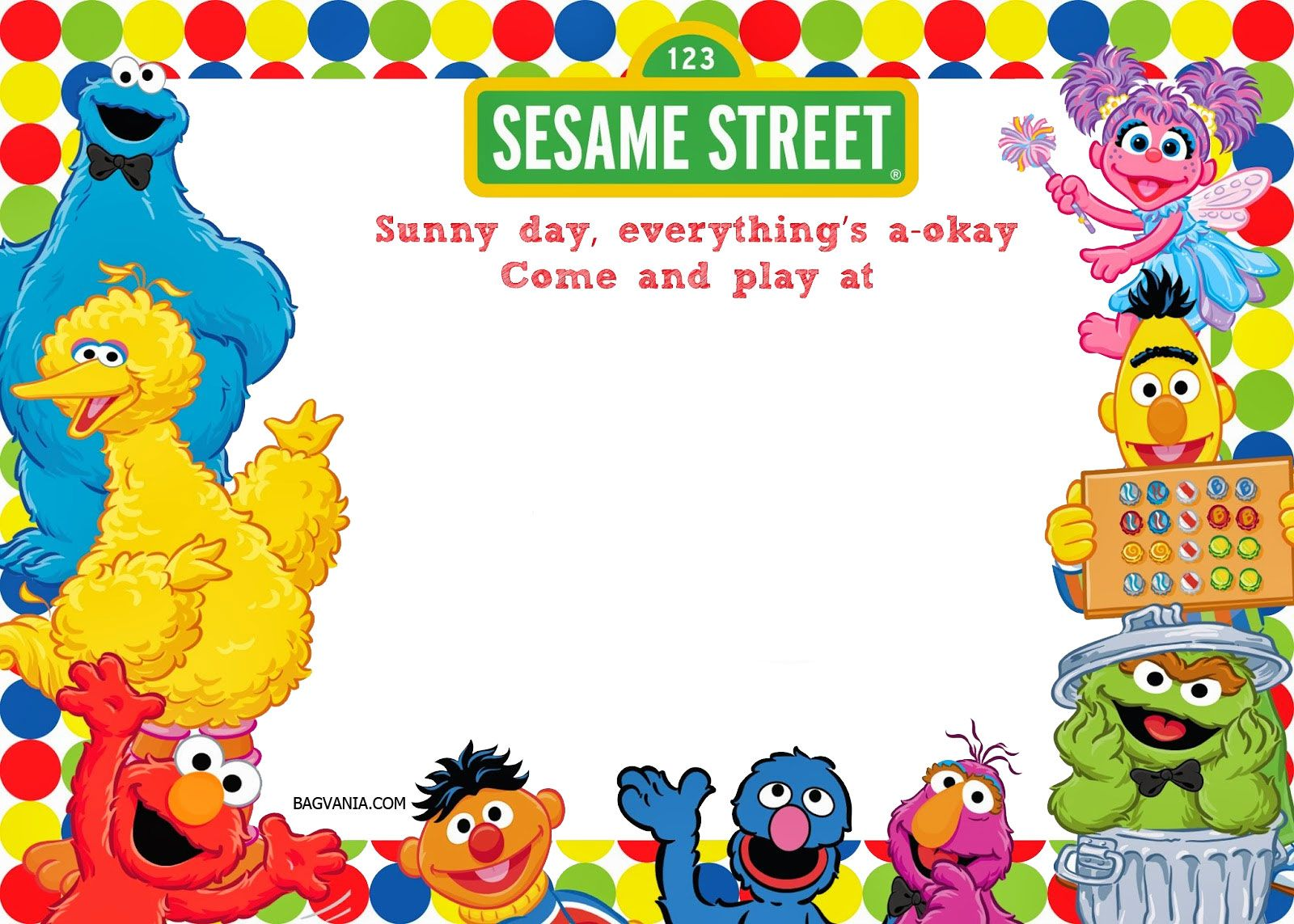 Download FREE Printable sesame street 1st birthday invitations ...