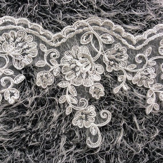 Bridal Veil Dress Supply Off White Alencon Lace Trim Wedding Lace With Silver Thread Floral Embroidered Retro Lace 5.5 Inches Wide